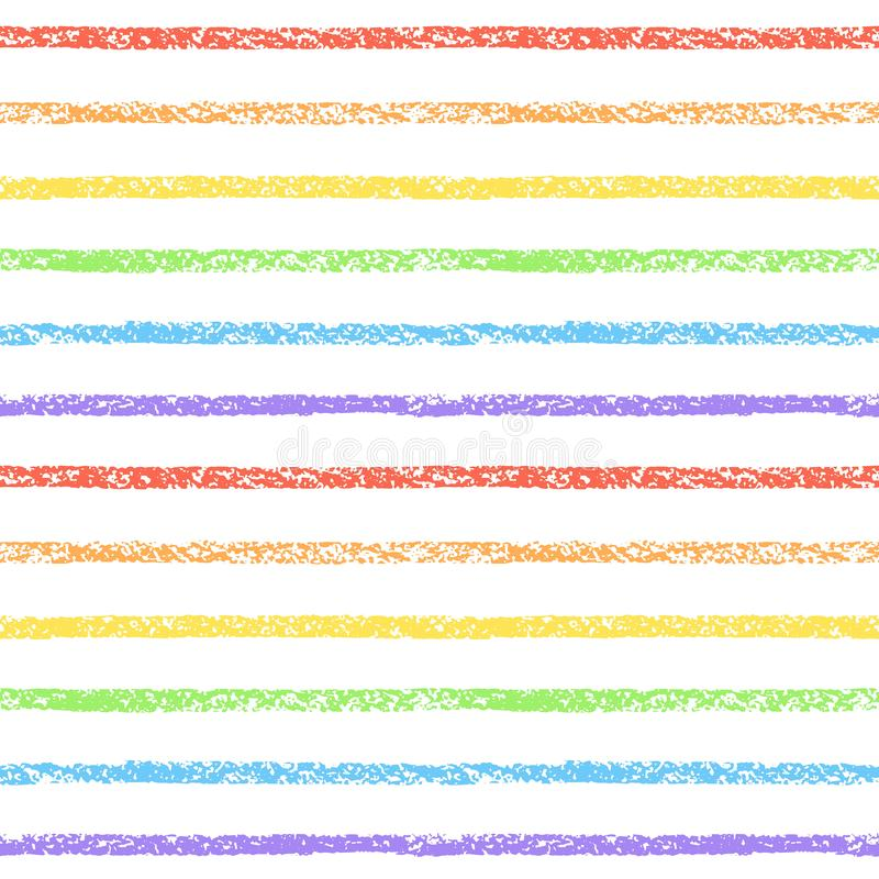 Tęcza textured kreda, pastel, kredka paskuje bezszwowego wzór ilustracji