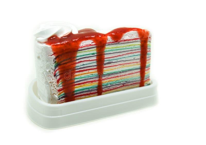 Tęczy crape tort zdjęcie stock