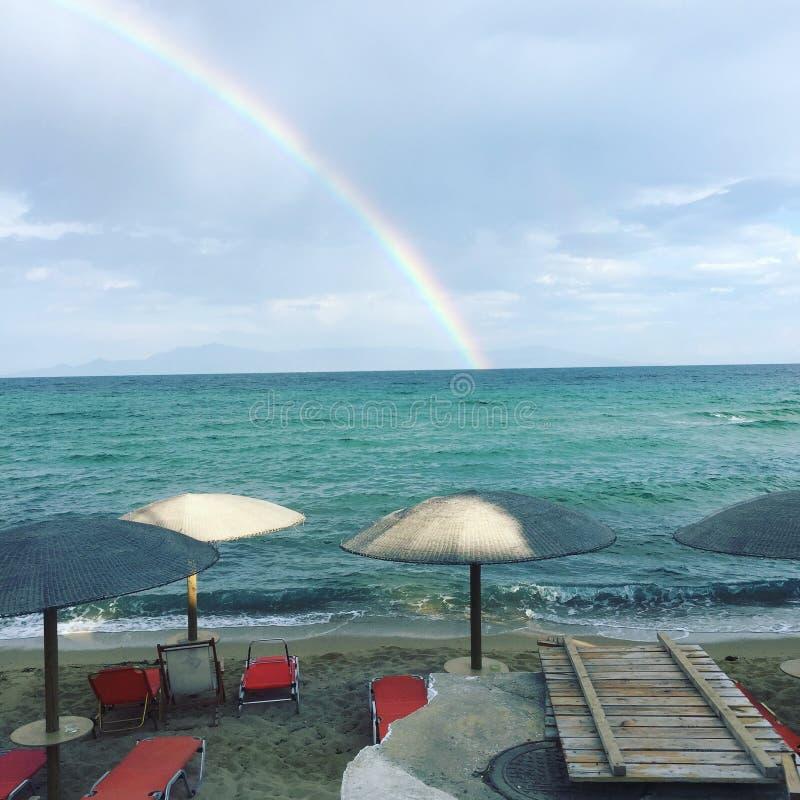 Tęczy Kavala Grecja morza plaża fotografia stock