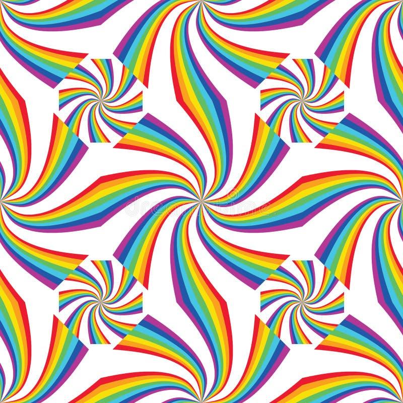 Tęczy linia łączy falowej symetrii bezszwowego wzór royalty ilustracja