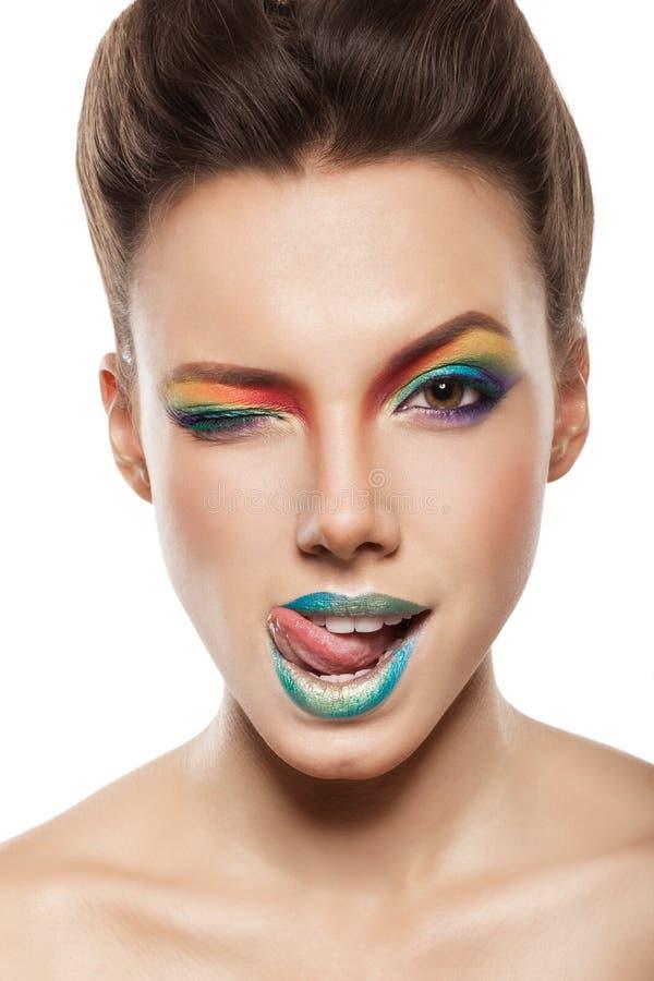 Tęczy makeup fotografia stock