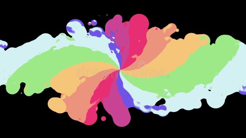 Tęczy splatter ślimakowaty kolorowy kleks rozprzestrzenia niespokojnego abstrakcjonistycznego obrazu ilustracyjnego tła nową unik royalty ilustracja