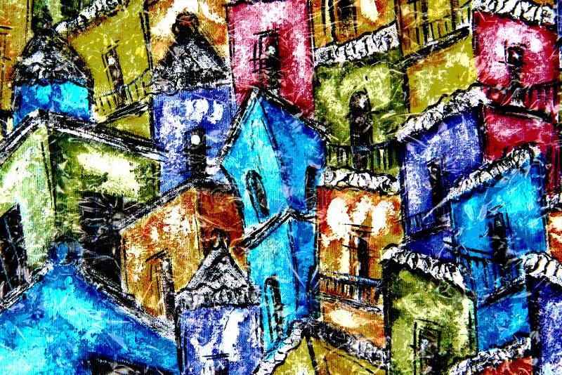 Tęczy wioska ilustracja wektor