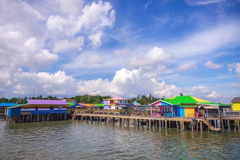 Tęczy wioska przy tanjung pinang bintan wyspą fotografia stock