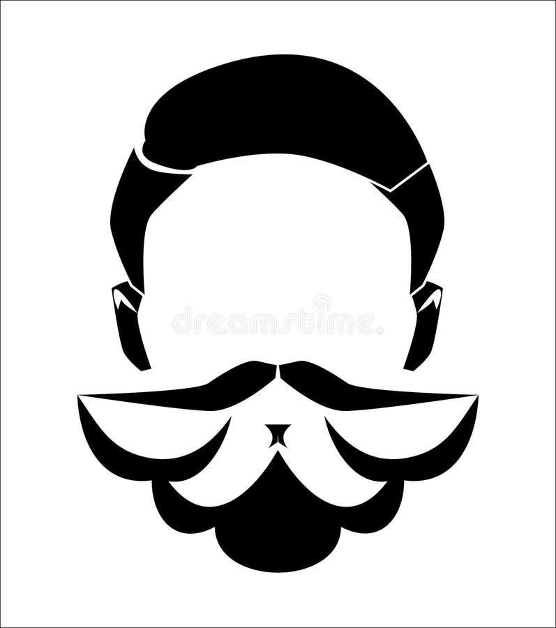 Tęsk mężczyzna broda bez twarzy Ręka rysująca modna modniś broda z wąsy również zwrócić corel ilustracji wektora royalty ilustracja