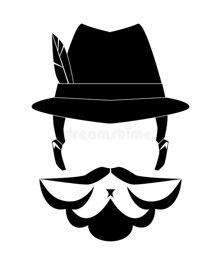 Tęsk mężczyzna broda bez twarzy Ręka rysująca modna modniś broda z wąsy również zwrócić corel ilustracji wektora ilustracji