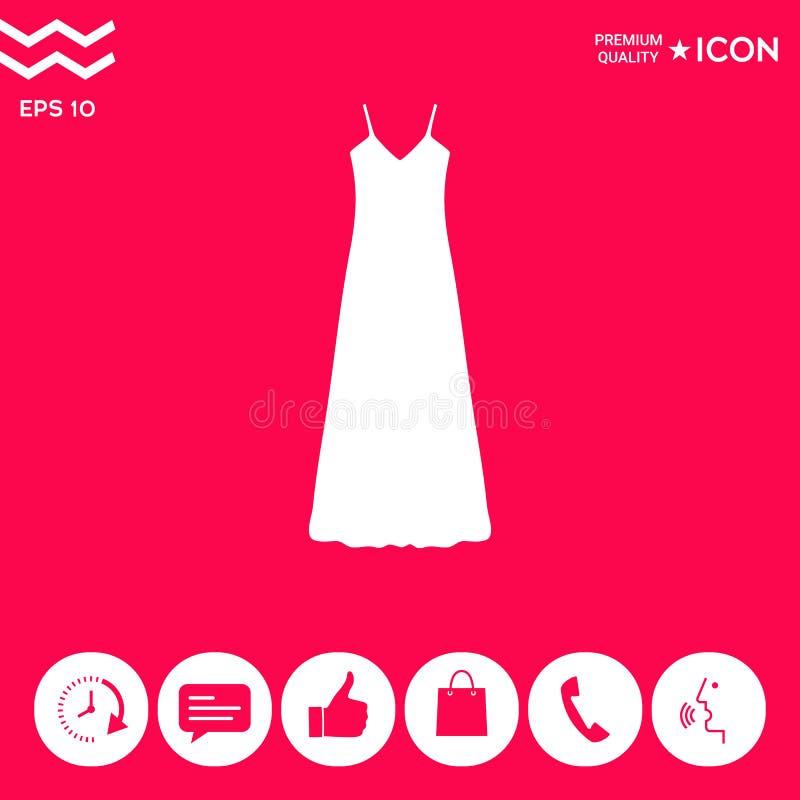 Tęsk suknia, wieczór, suknia, kombinacja lub nightie sylwetka Menu rzecz w sieć projekcie ilustracji