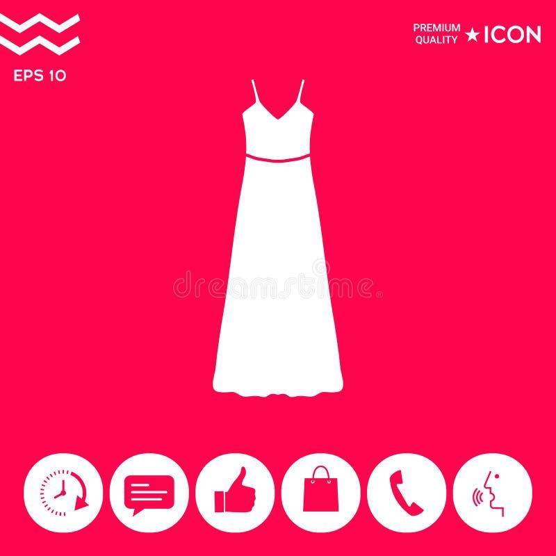 Tęsk suknia, wieczór, suknia lub sundress z paskiem sylwetka Menu rzecz w sieć projekcie ilustracja wektor