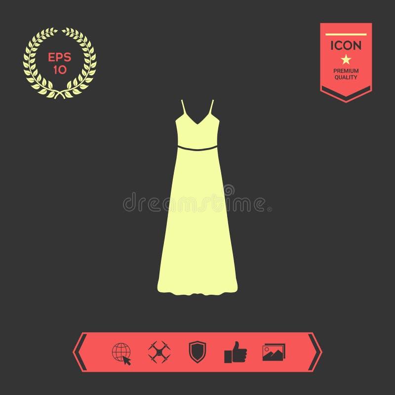 Tęsk suknia, wieczór, suknia lub sundress z paskiem sylwetka Menu rzecz w sieć projekcie royalty ilustracja