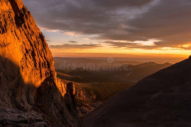tęsk szczytowy wschód słońca Skalistej góry park narodowy zdjęcia stock
