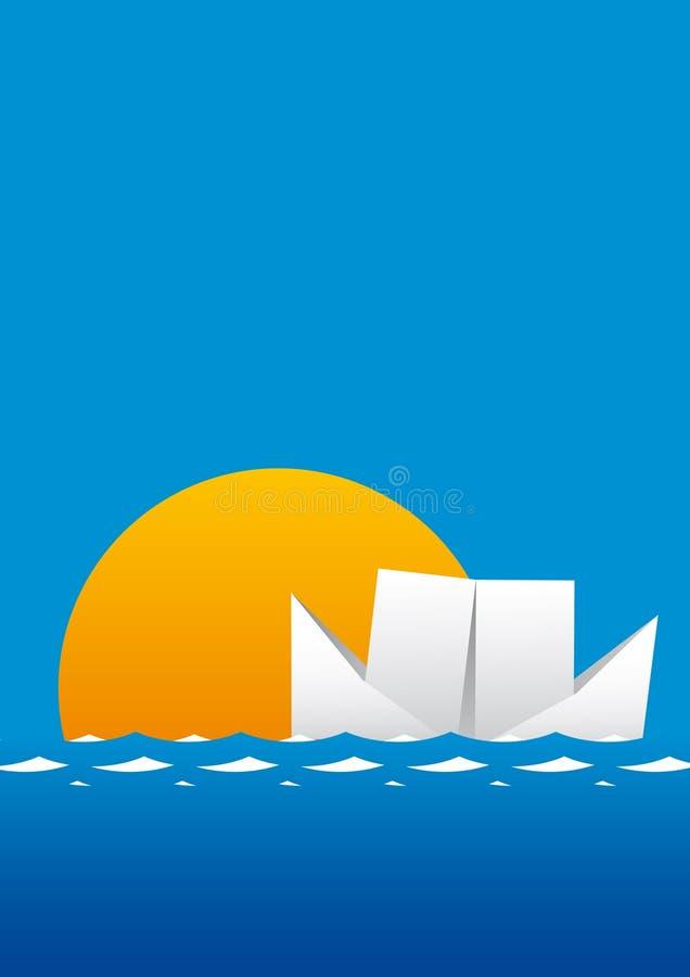 tła łodzi plakat ilustracja wektor