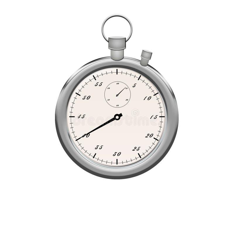 tła ścinku ścieżki stopwatch biel Stopwatch kruszcowy kolor izolujący ilustracja wektor