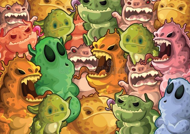 tła śliczny potworów wzór ilustracja wektor