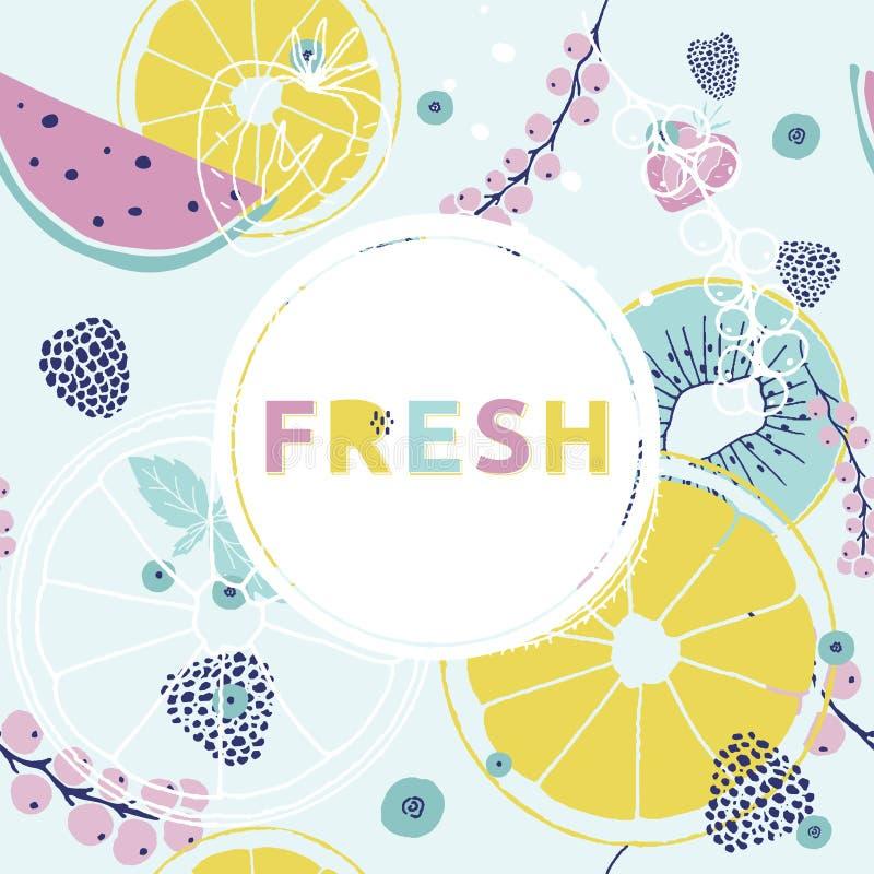 tła świeży lato Kolorowa ręka rysująca chrzcielnica, owoc, berr royalty ilustracja