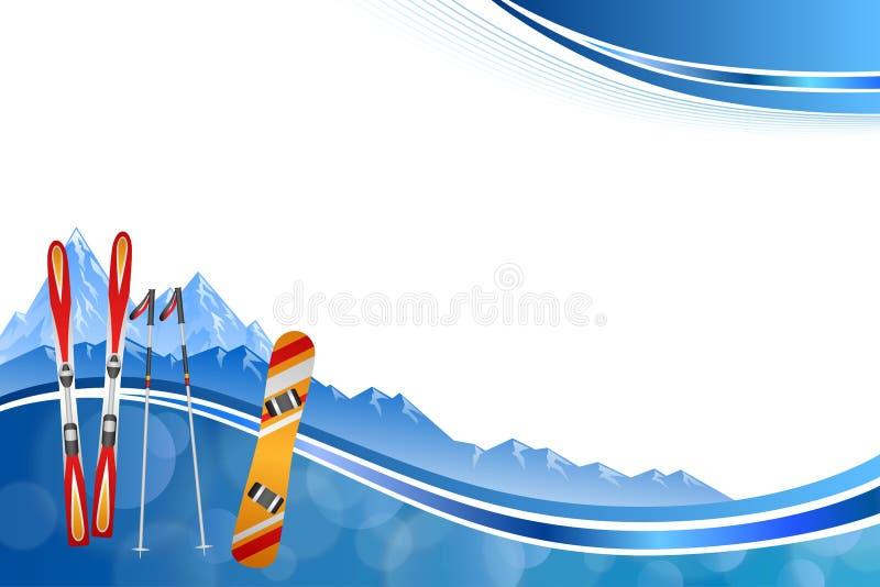 Tła abstrakcjonistycznego błękitnego narciarskiego snowboard zimy sporta ramy czerwona pomarańczowa ilustracja ilustracji