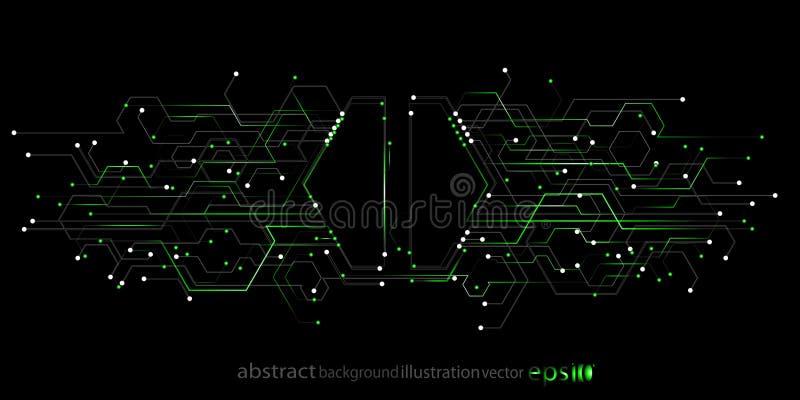 Tła abstrakcjonistyczny geometryczny od sześciokątów lampasów wykłada okręgi w postaci microcircuits ilustracji