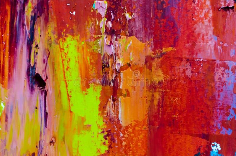 tła abstrakcjonistyczny obraz olejny Olej na brezentowej teksturze Ręka rysująca royalty ilustracja
