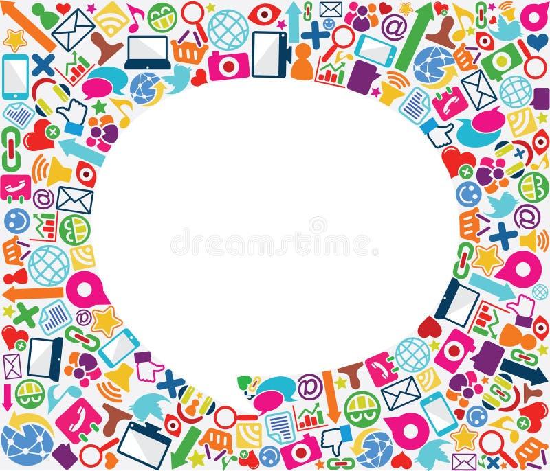 tła bąbla ikony socjalny mowa ilustracji