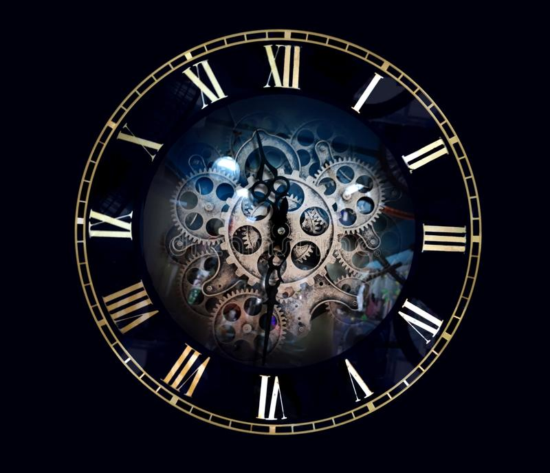 tła błękit zegaru chmury pojęcia stawiają czoło pomysłów liczby target1066_1_ rzymskiego nieba światła słonecznego czas obraz stock