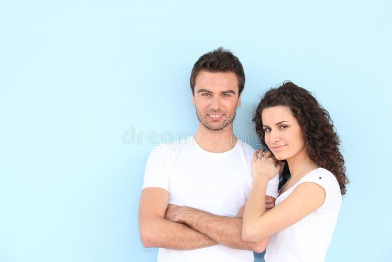 tła błękitny pary trwanie potomstwa zdjęcia royalty free