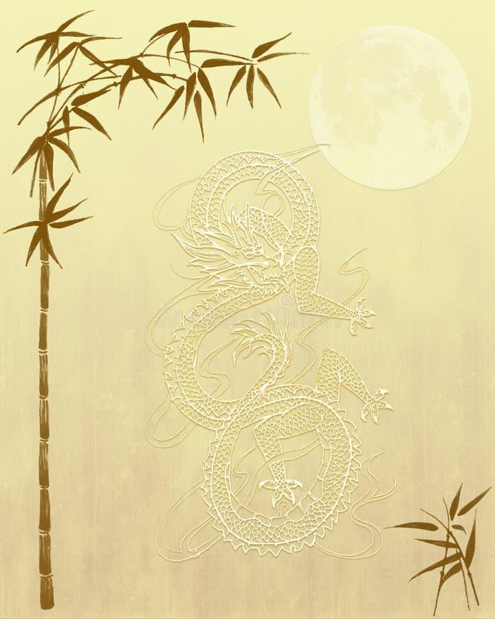 tła bambusowy chiński smoka papier ilustracja wektor
