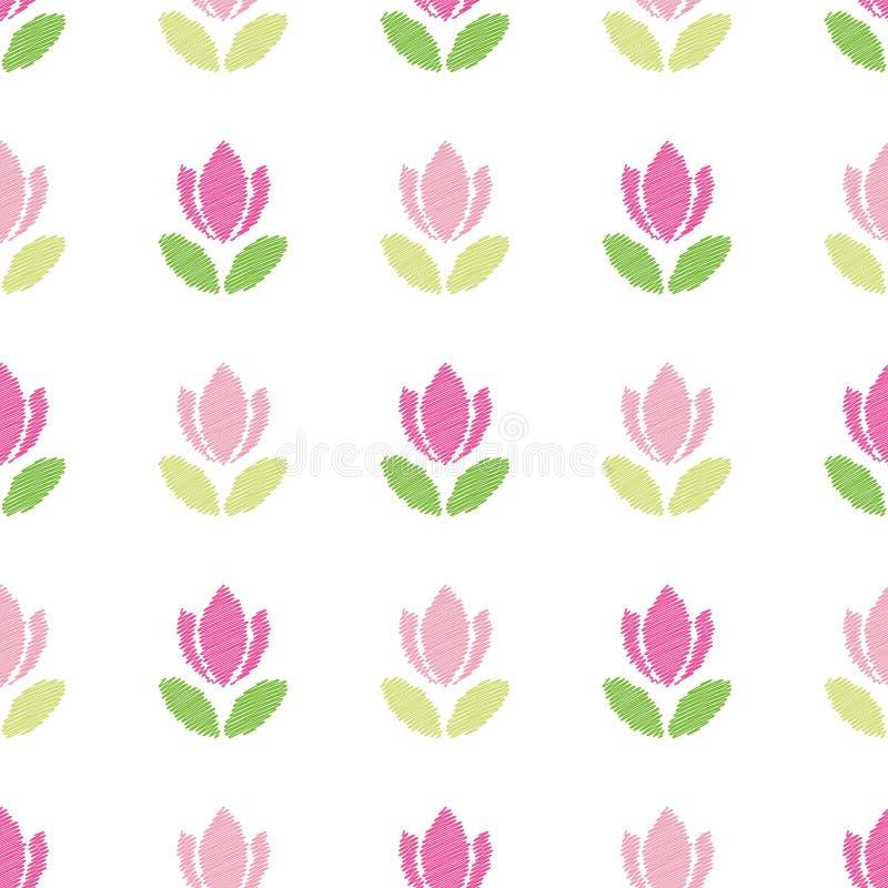 tła bezszwowy kwiecisty deseniowy Broderia różowi tulipany odizolowywający na bielu ilustracji