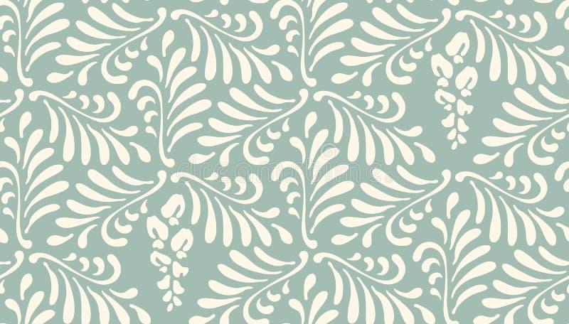 tła bezszwowy kwiecisty deseniowy Ornament stylizowani liście, kwiaty ilustracji