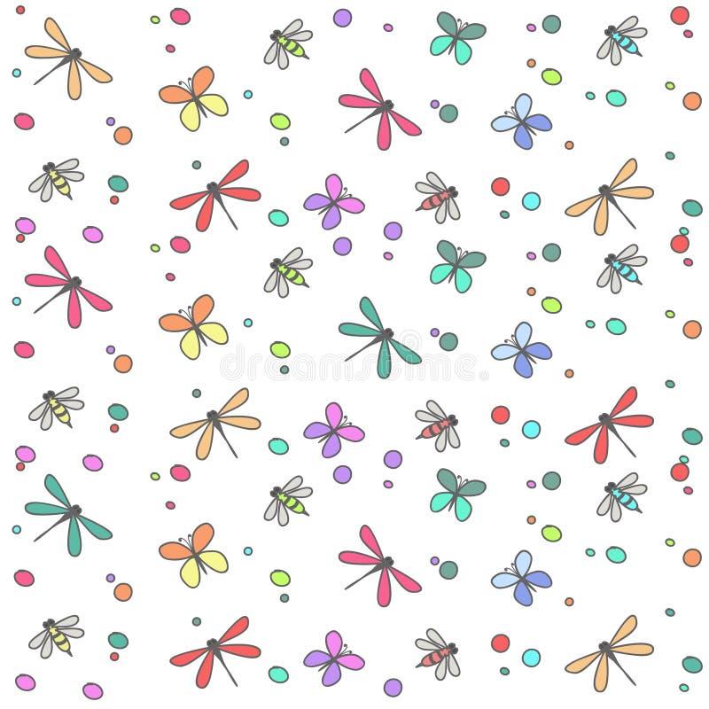 Tła bezszwowy wiele barwioni insekty ilustracji