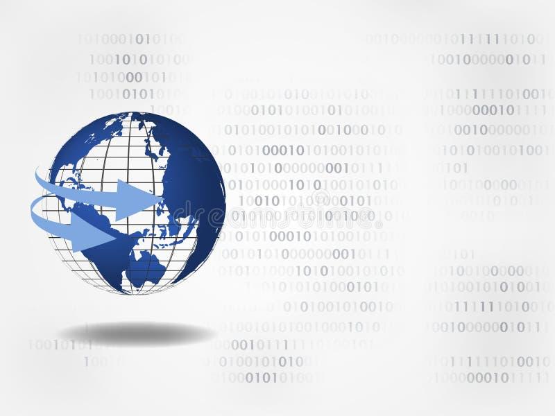 tła binarnego kodu ziemi telefonu planety technologia 3d sfery światowej mapy otaczające strzała na cyfrach na backround reprezen ilustracja wektor