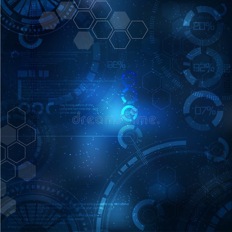 tła binarnego kodu ziemi telefonu planety technologia Technologiczni elementy na niebie ilustracja z techno elementem royalty ilustracja