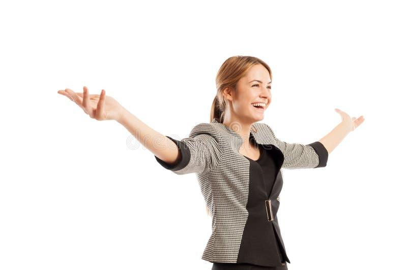 tła biznesowego pojęcia szczęśliwego odosobnionego nadmiernego portreta pomyślna biała kobieta obraz stock