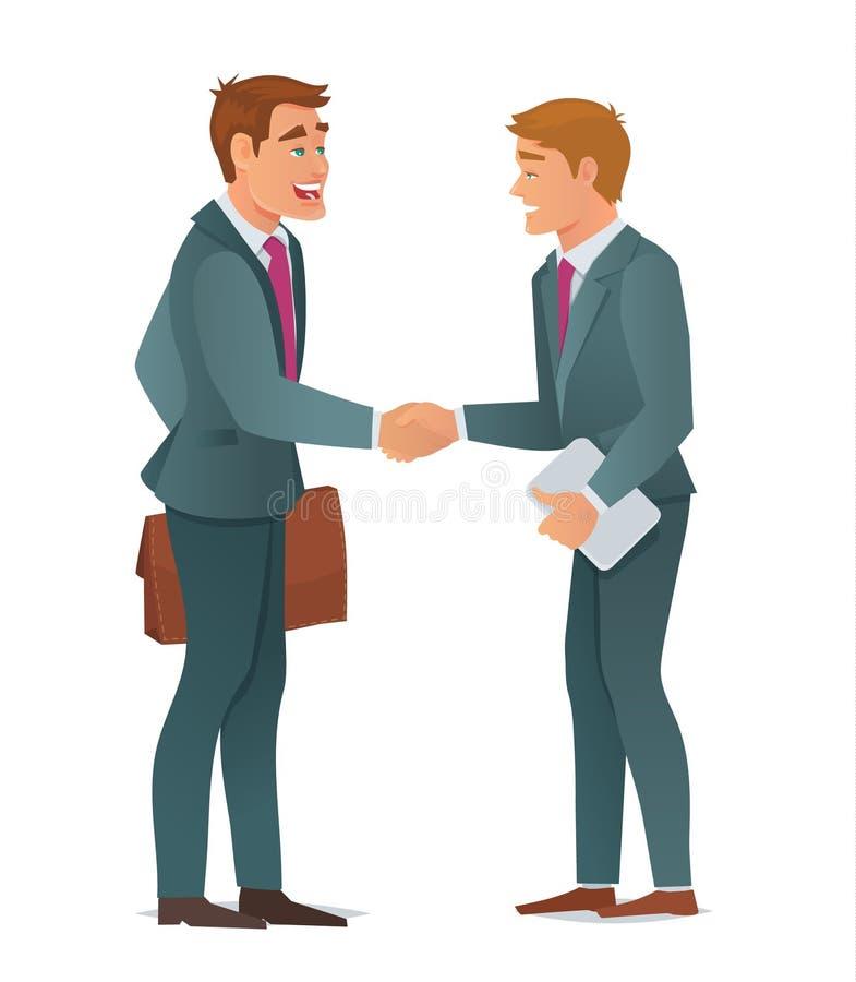 tła biznesowi uścisk dłoni mężczyzna biały ilustracja wektor