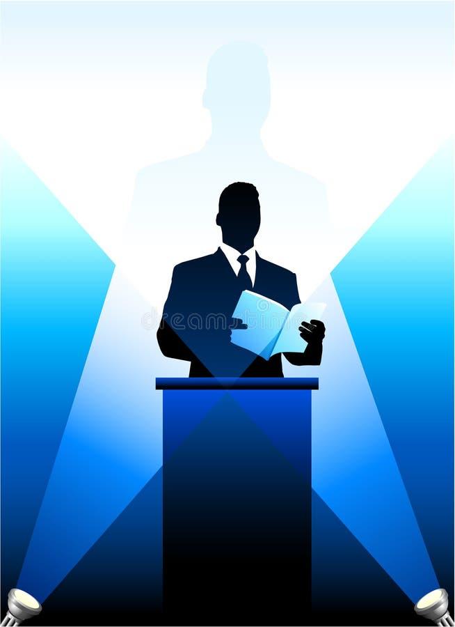 tła biznesowy polityczny sylwetki mówca ilustracja wektor