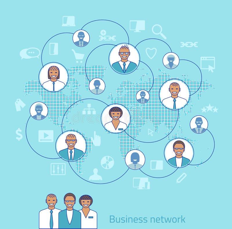 tła biznesowy sieci biel Pojęcie ilustracja zarządzanie, organizati ilustracja wektor