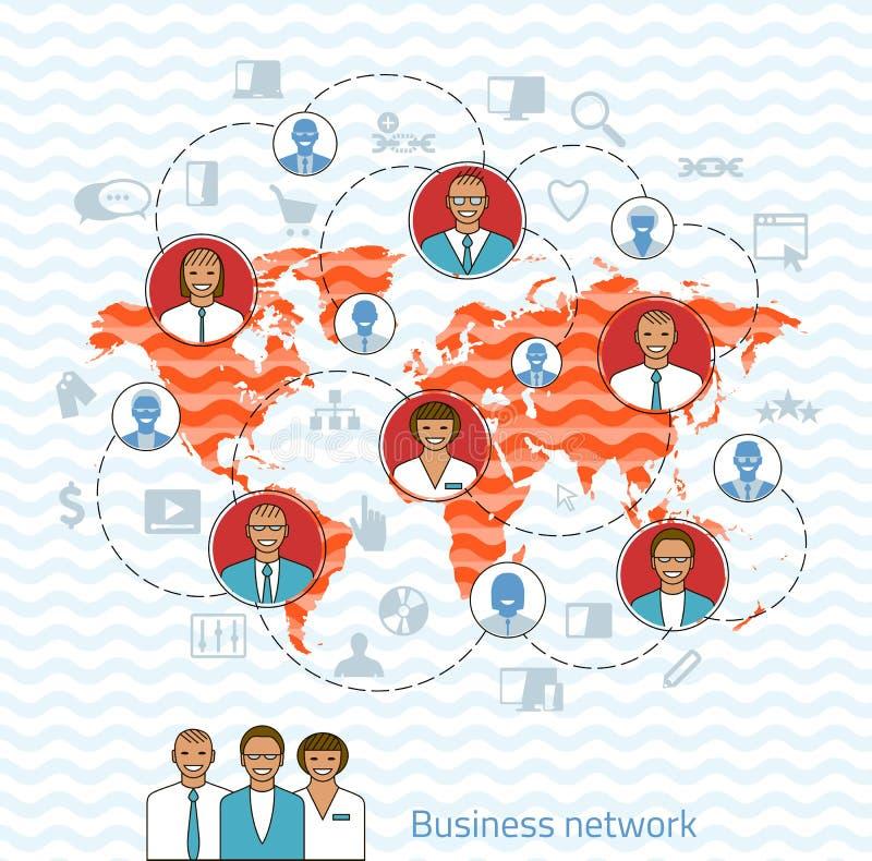 tła biznesowy sieci biel Pojęcie ilustracja zarządzanie, organizati royalty ilustracja