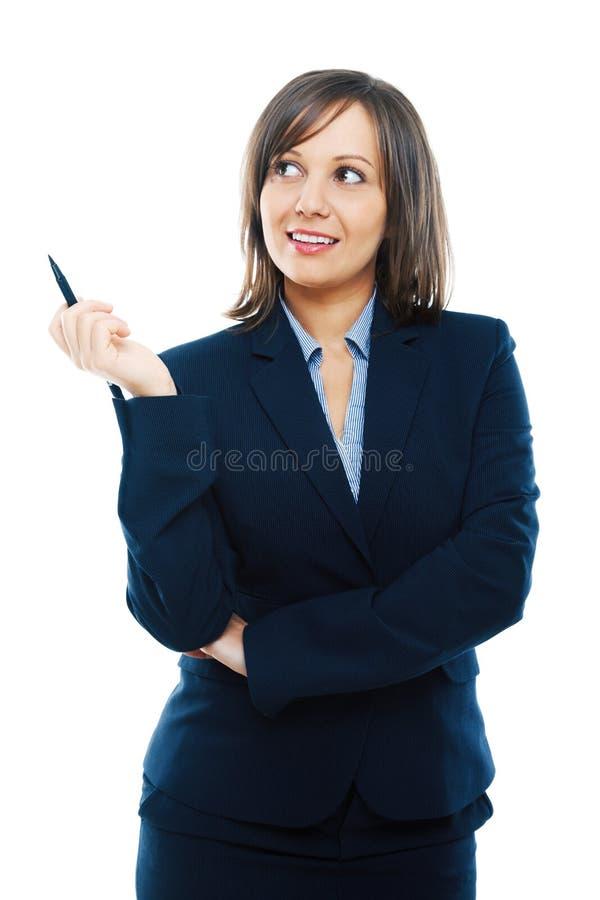 tła bizneswomanu odosobnienia główkowania biel zdjęcie royalty free
