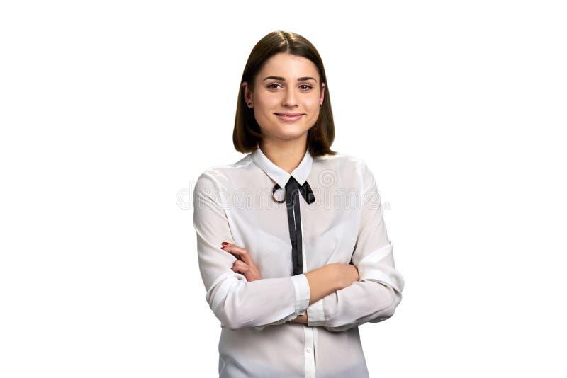 tła bizneswomanu portreta biel fotografia stock