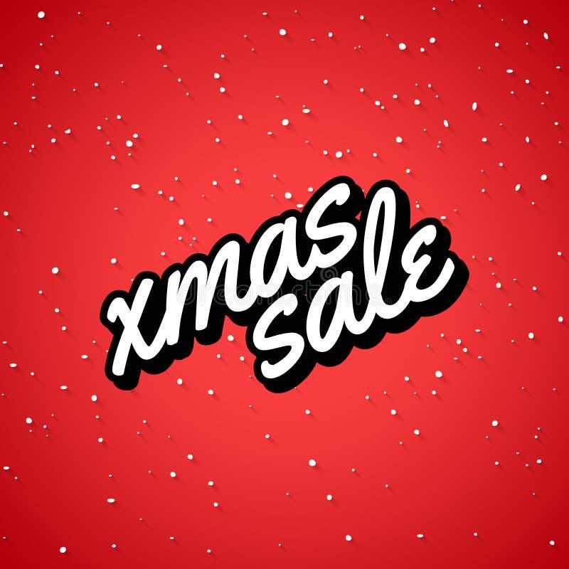 tła bożych narodzeń sprzedaży Santa bałwanu xmas Bożenarodzeniowa sprzedaży karta z literowaniem Zima sezonu plakata sprzedaż royalty ilustracja