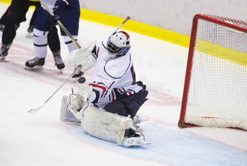 tła bramkarza hokeja lodu fotografii biel zdjęcia stock