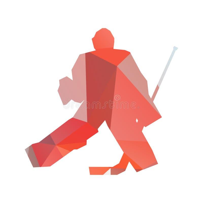 tła bramkarza hokeja lodu fotografii biel Geometryczna wektorowa sylwetka ilustracja wektor