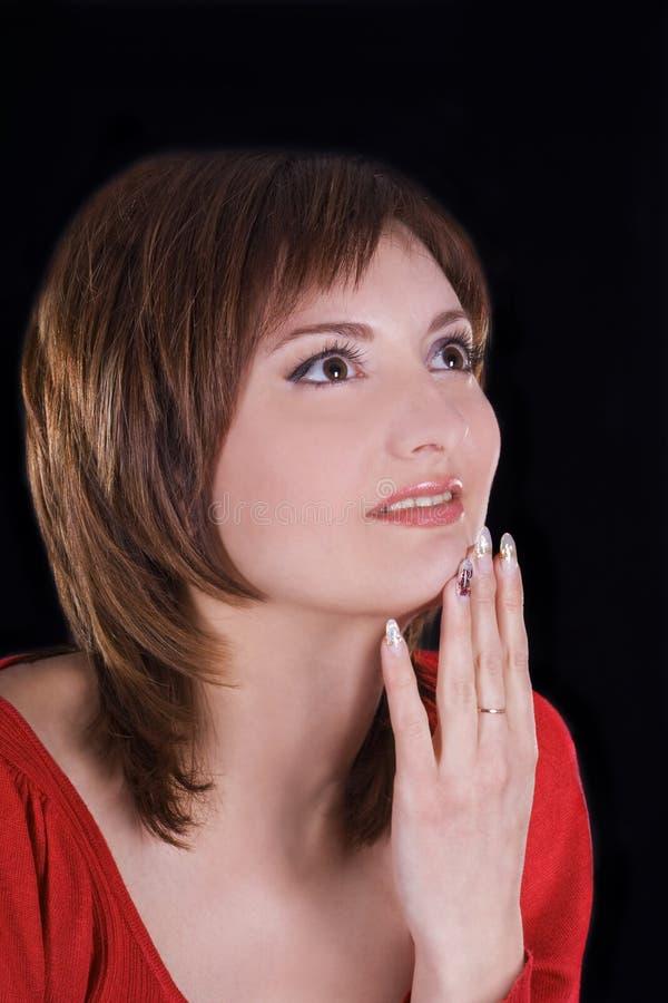 tła brunetki ciemny dziewczyny target1002_0_ zdjęcia stock
