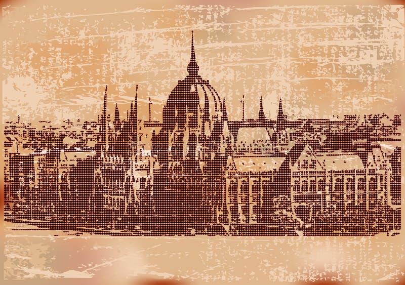 tła Budapest rocznik ilustracja wektor