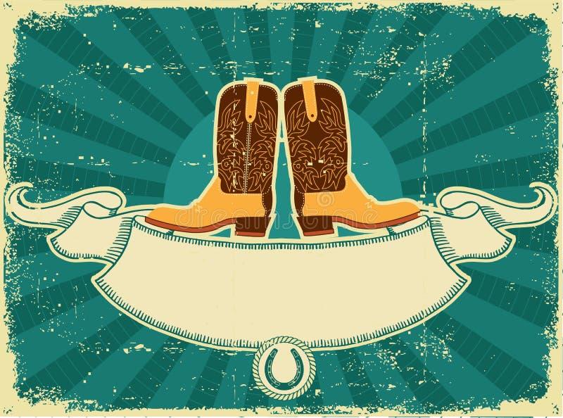 tła butów karciany kowbojski stary papierowy rocznik royalty ilustracja