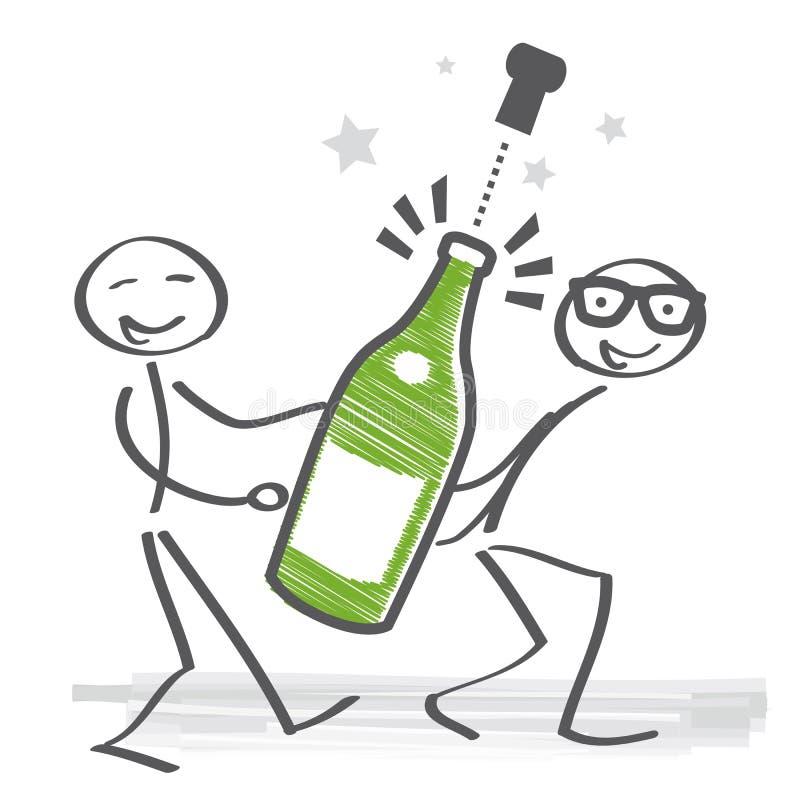 tła butelki szampański wybuchu wakacje ilustracja wektor