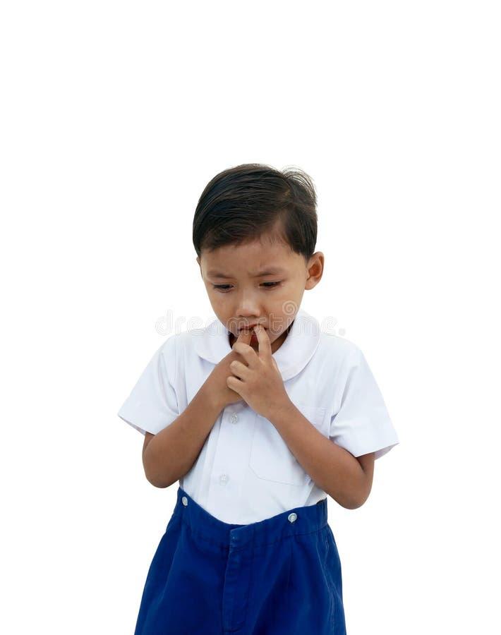 tła chłopiec płaczu odosobniony biel fotografia stock