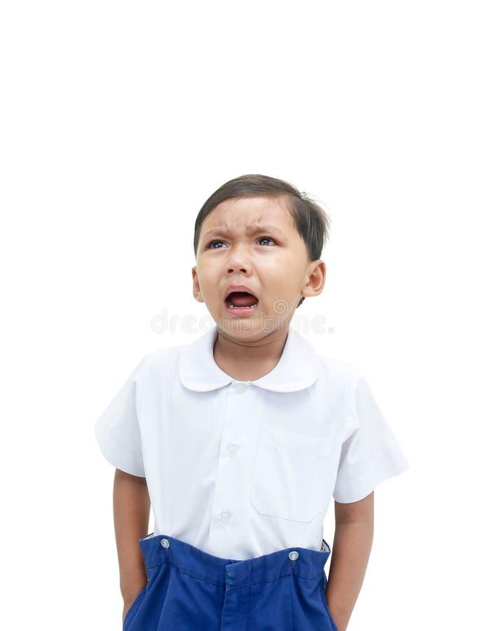 tła chłopiec płaczu odosobniony biel obrazy royalty free