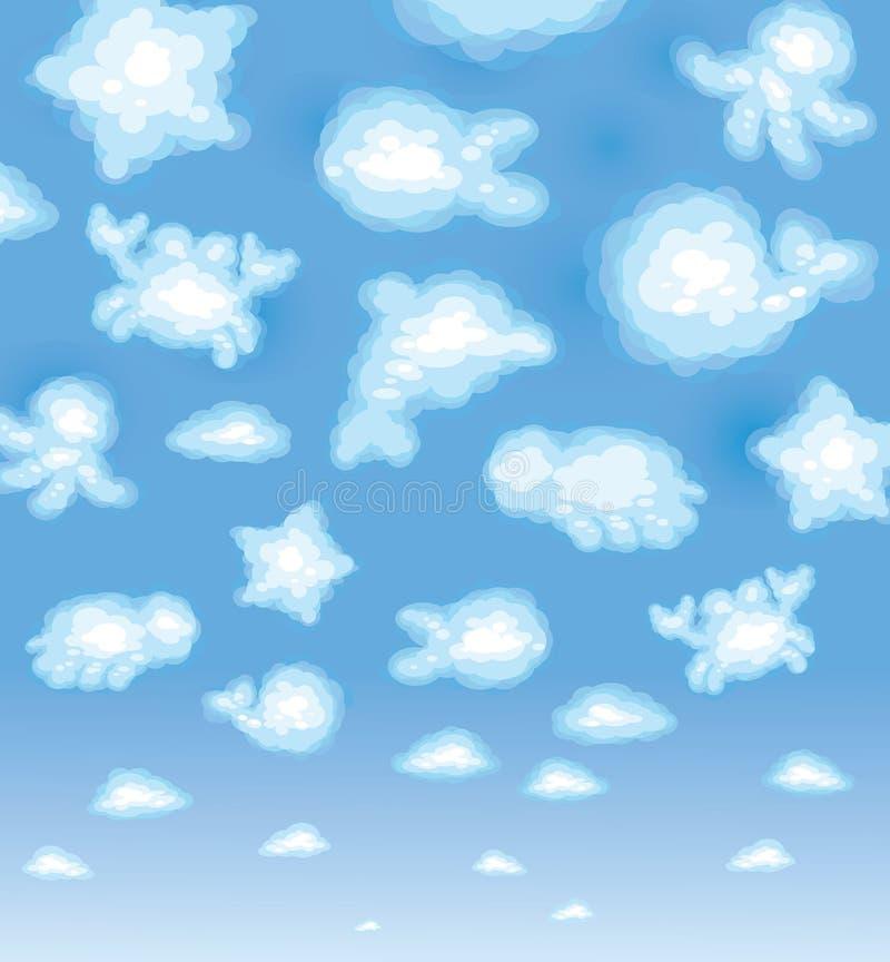 tła chmur śliczna śmieszna sealife zabawka ilustracja wektor