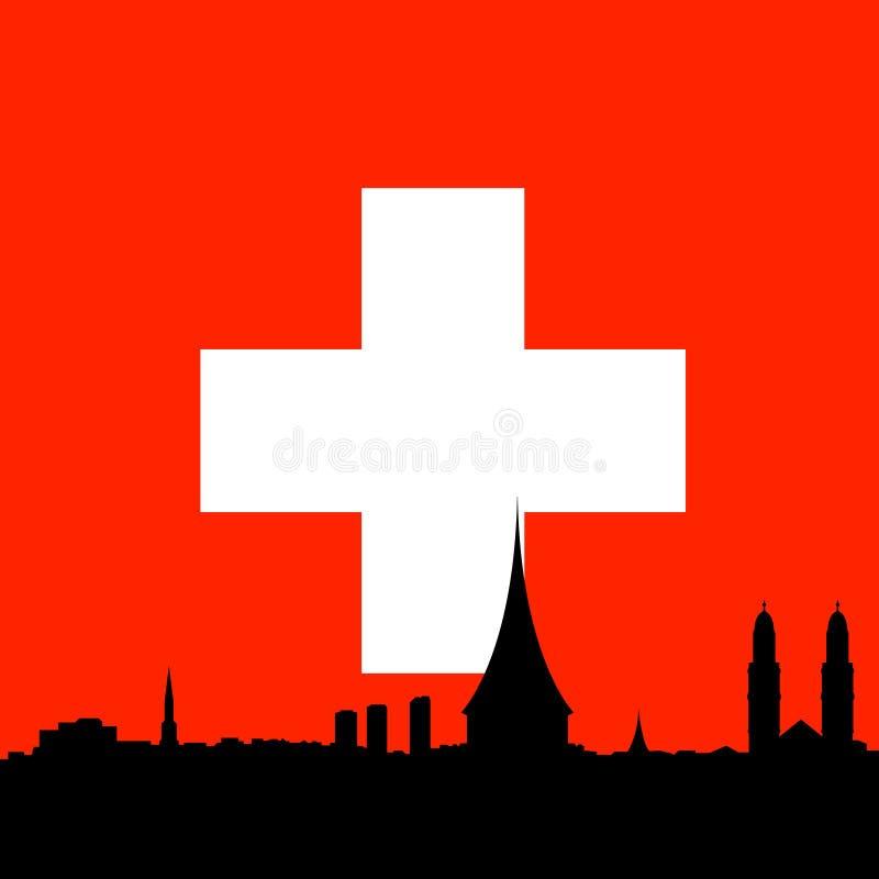 tła chorągwiany linia horyzontu wektor Zurich royalty ilustracja