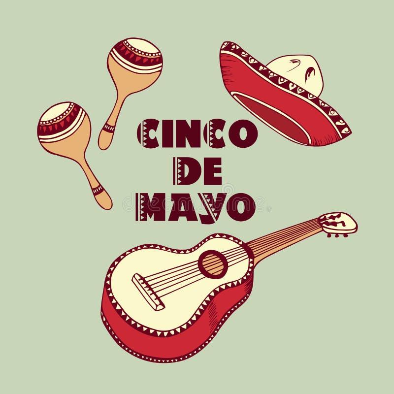 tła cinco de Mayo Sombrero, gitara, marakasu wektoru elementy