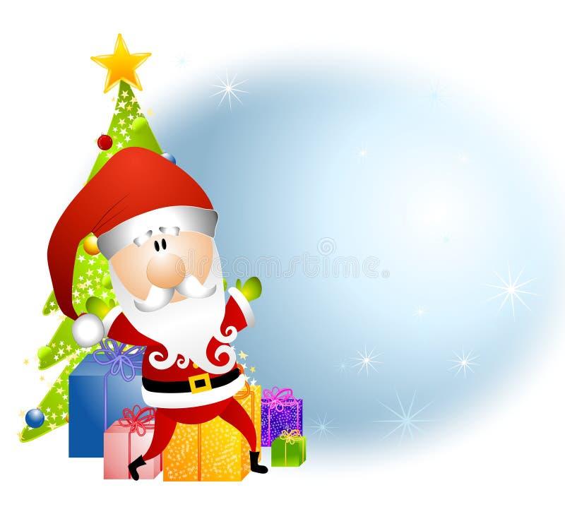 tła Claus prezentów Santa drzewo royalty ilustracja